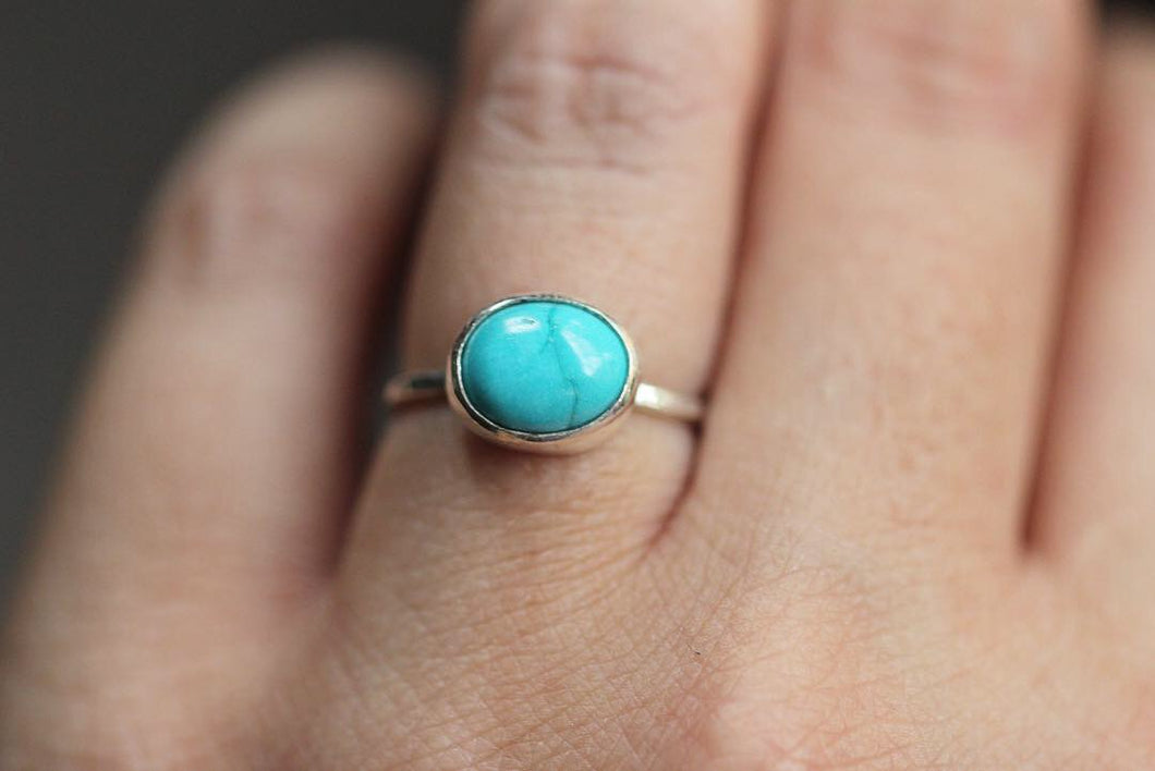 Sterling silver sleeping beauty turquoise stacking ring US size 5.75