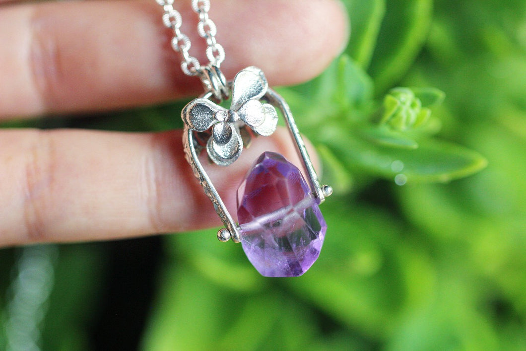 Pinned faceted amethyst and succulent necklace #3
