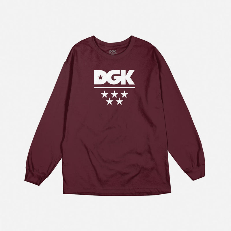 DGK All Star Long Sleeve T-Shirt Burgundy