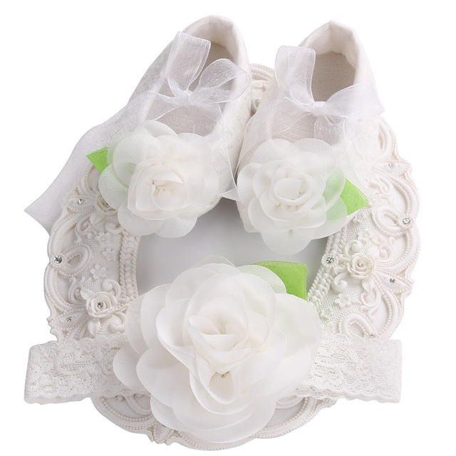 Baby flower girl shoes headband set love to shop free baby flower girl shoes headband set mightylinksfo