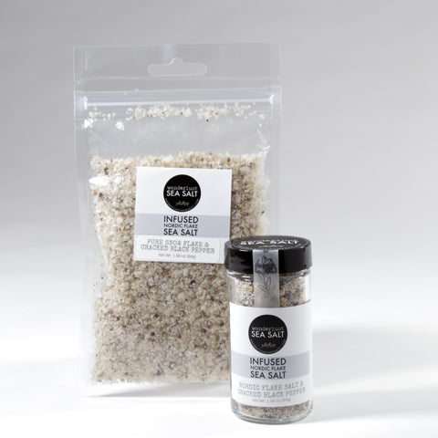 Nordic Flake Sea Salt infused with Cracked Black Pepper