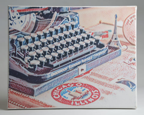 "Vintage Typewriter with Chicago Luggage Sticker and Eiffel Tower - Handmade Canvas Art 8""x10"""
