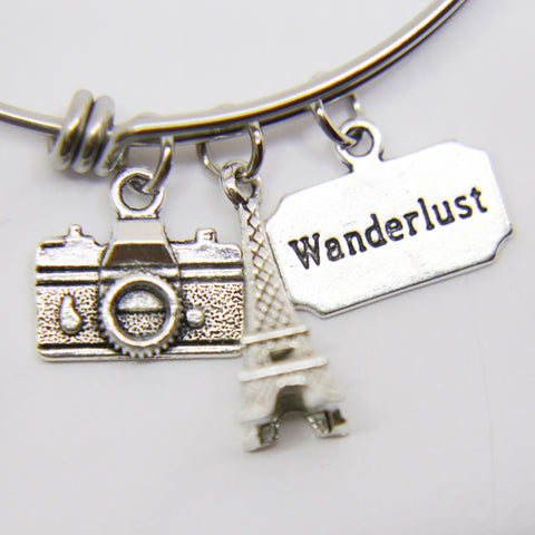 """EIFFEL TOWER"" WANDERLUST CHARMS BANGLE BRACELET"