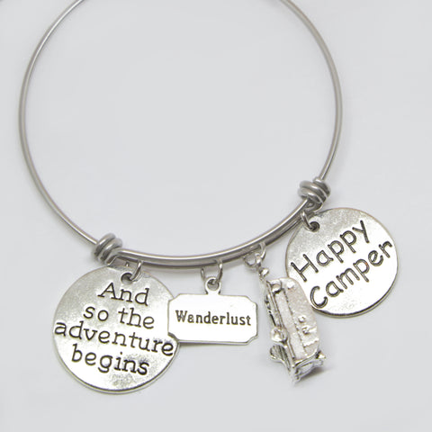 """HAPPY CAMPER"" WANDERLUST CHARMS BANGLE BRACELET"
