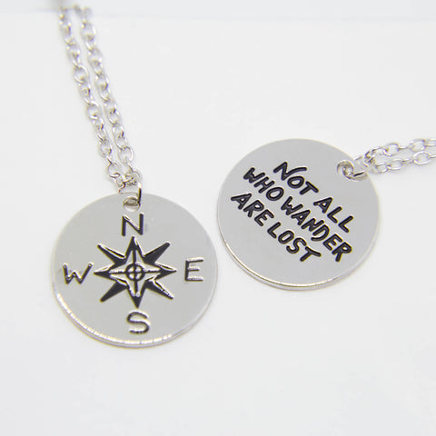 """NOT ALL WHO WANDER ARE LOST"" CHARMS PENDANT NECKLACE"
