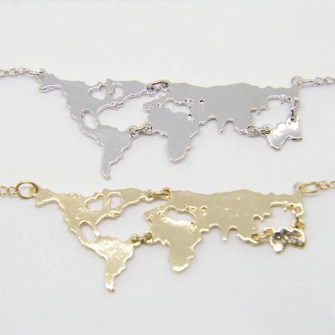 """WORLD MAP"" WANDERLUST PENDANT NECKLACE - LARGE"