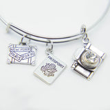 SUITCASE, PASSPORT & CAMERA CHARM WANDERLUST CHARM BANGLE BRACELET