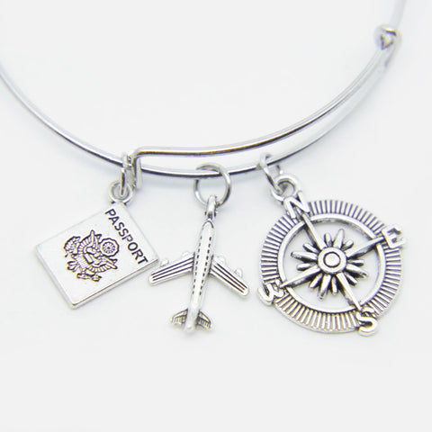 COMPASS, PASSPORT & AIRPLANE CHARM WANDERLUST PENDANT BANGLE BRACELET