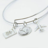 """TAKE FLIGHT"" WANDERLUST CHARMS BANGLE BRACELET"