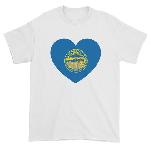 NEBRASKA FLAG HEART - Mens/Unisex short sleeve t-shirt