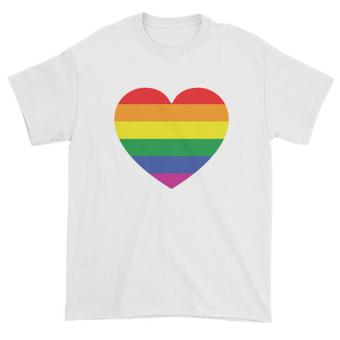 GAY PRIDE RAINBOW FLAG HEART - Mens/Unisex short sleeve t-shirt