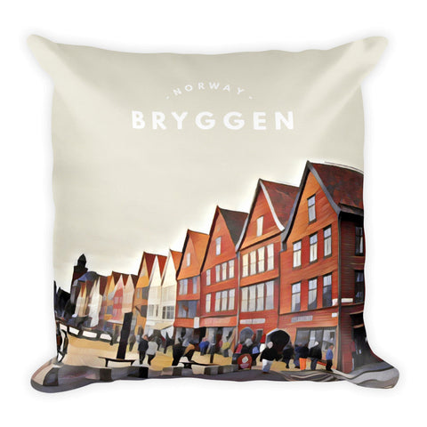 Bryggen (Bergen) Norway Street Scene - Square Pillow