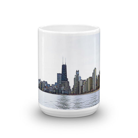 CHICAGO SKYLINE w/JOHN HANCOCK - View from North Beach (Slate) - Heavy 15oz Mug made in the USA