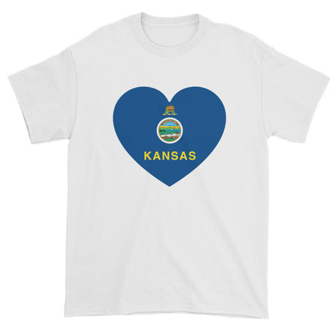 KANSAS FLAG HEART - Mens/Unisex short sleeve t-shirt