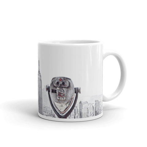 NEW YORK CITY SKYLINE W/VIEWFINDER (B/W+Pop of Red) - Mug