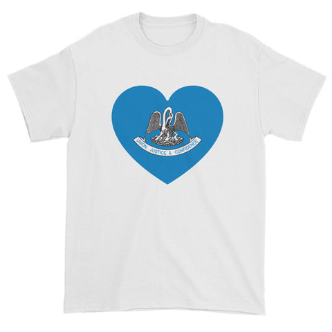 LOUISIANA FLAG HEART - Mens/Unisex short sleeve t-shirt