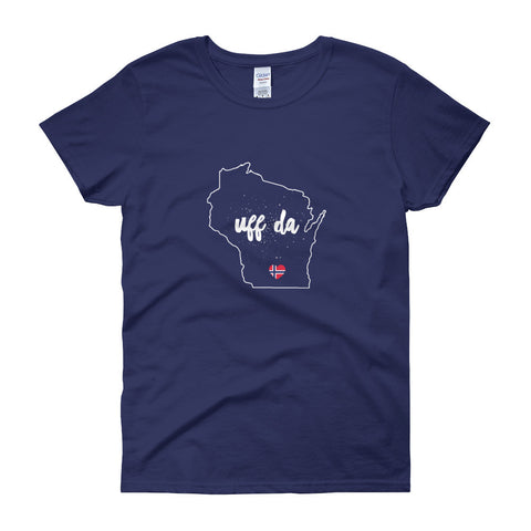 UFF DA WISCONSIN OUTLINE (NORWEGIAN FLAG HEART) - Women's short sleeve t-shirt