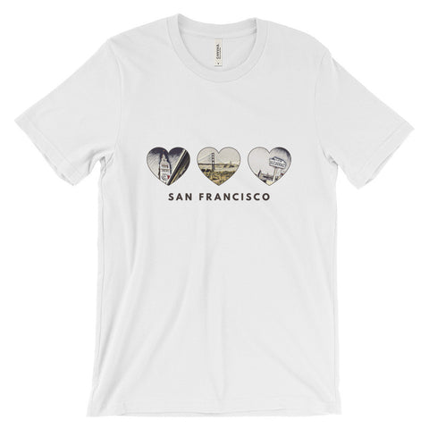 SAN FRANCISCO HEART (Browns) - Unisex short sleeve t-shirt