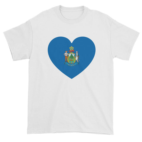 MAINE FLAG HEART - Mens/Unisex short sleeve t-shirt