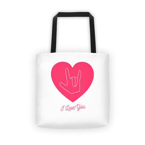 I LOVE YOU, SIGN LANGUAGE (PINK) - Tote bag