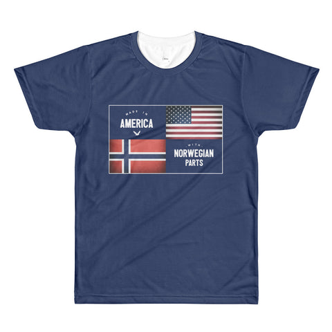 MADE IN AMERICA WITH NORWEGIAN PARTS (NORWAY) SUBLIMATION MEN'S CREWNECK T-SHIRT