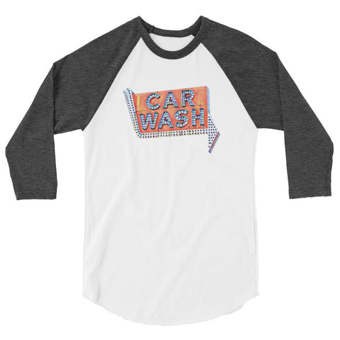 VINTAGE CAR WASH SIGN - 3/4 Length Sleeve Unisex Raglan T-shirt