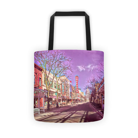 STATE STREET, ORPHEUM THEATER & WISCONSIN STATE CAPITOL in MADISON, WISCONSIN Tote bag