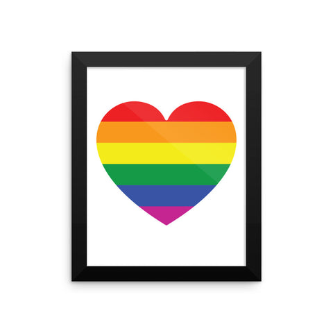 GAY PRIDE RAINBOW FLAG HEART Framed poster