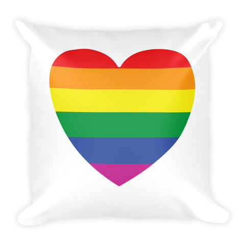 GAY PRIDE RAINBOW FLAG HEART Square Pillow