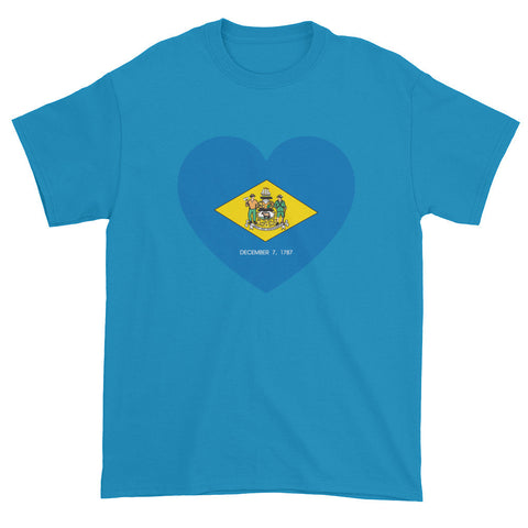 DELAWARE FLAG HEART - Mens/Unisex short sleeve t-shirt