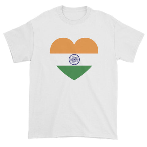 INDIA FLAG HEART - Mens/Unisex short sleeve t-shirt