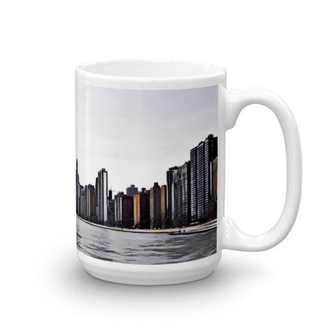 CHICAGO SKYLINE w/JOHN HANCOCK - View from North Beach (Bold) - Heavy 15oz Mug made in the USA