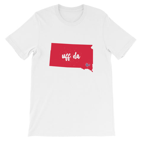 UFF DA SOUTH DAKOTA (NORWAY HEART) - Unisex short sleeve t-shirt