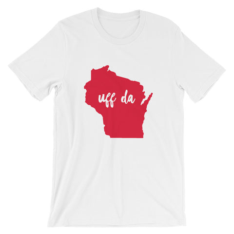 UFF DA WISCONSIN (Solid Red) Unisex short sleeve t-shirt