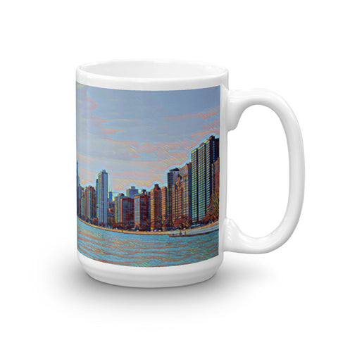 CHICAGO SKYLINE w/JOHN HANCOCK - View from North Beach (Colorful) - Heavy 15oz Mug made in the USA