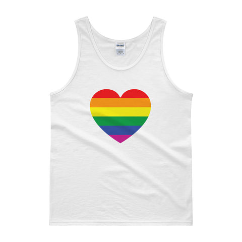 GAY PRIDE RAINBOW FLAG HEART - Mens/Unisex tank top
