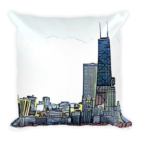 CHICAGO SKYLINE w/HANCOCK BUILDING - Square Pillow