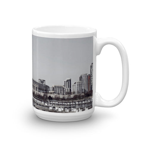 SOLDIER FIELD, CHICAGO (BW) - Heavy 15oz Mug made in the USA