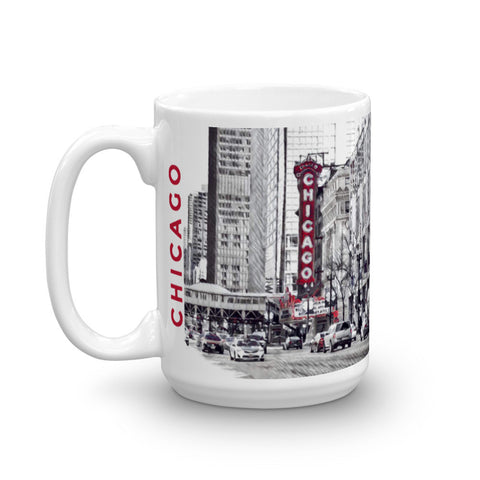 CHICAGO THEATER (PopRed) - Heavy 15oz Mug made in the USA