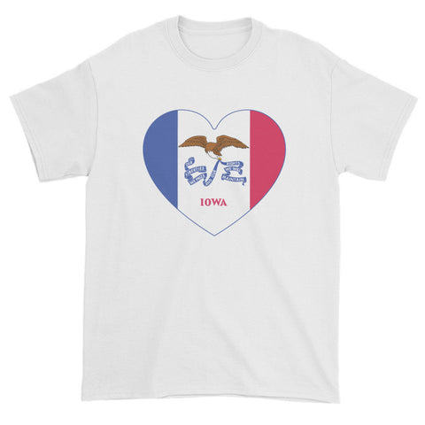 IOWA FLAG HEART - Mens/Unisex short sleeve t-shirt