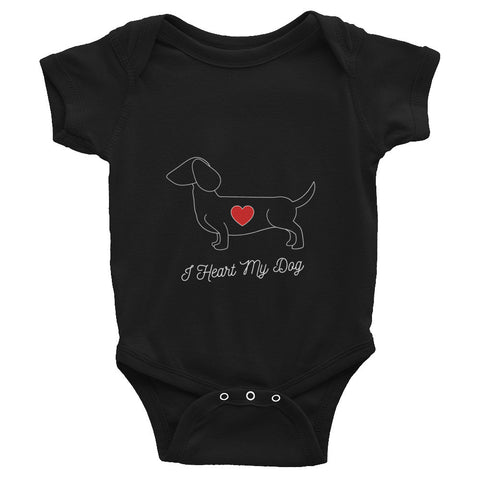 I HEART MY DOG - DACHSHUND - Infant short sleeve Onesie Bodysuit