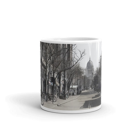 STATE STREET IN MADISON, WISCONSIN (B/W) - Mug
