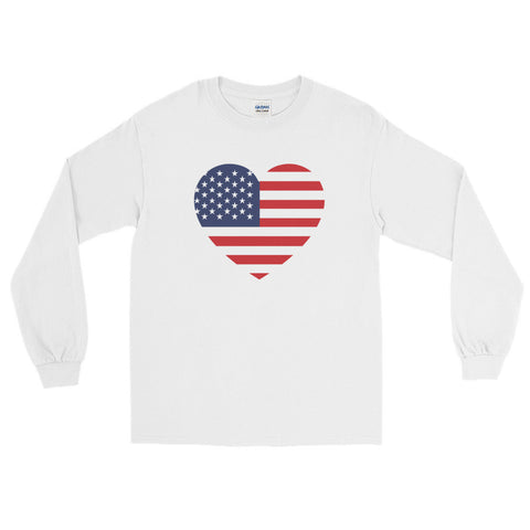 USA HEART - Mens/Unisex long sleeve t-shirt