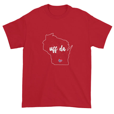 UFF DA WISCONSIN OUTLINE (NORWEGIAN FLAG HEART) - Short sleeve t-shirt