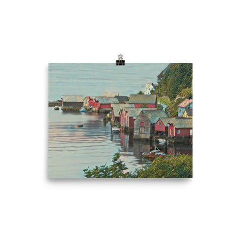 NORWEGIAN FISHING VILLAGE (VAGSOY, NORWAY) - Poster