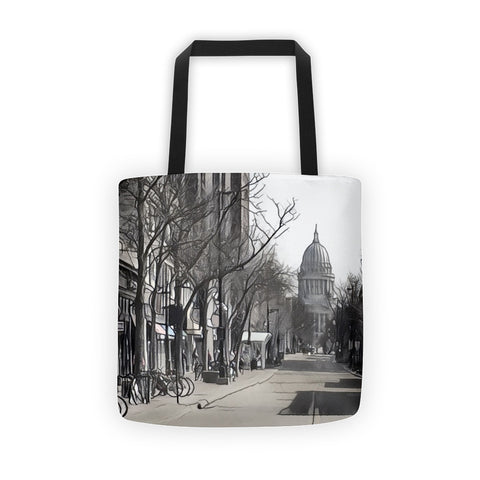 STATE STREET in MADISON, WISCONSIN (BW) - Tote bag
