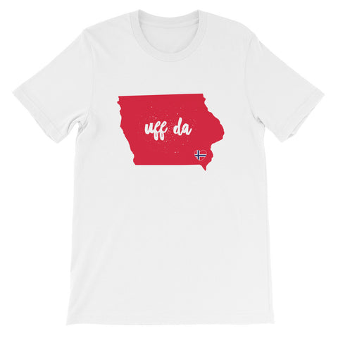 UFF DA IOWA (NORWAY HEART) - Unisex short sleeve t-shirt