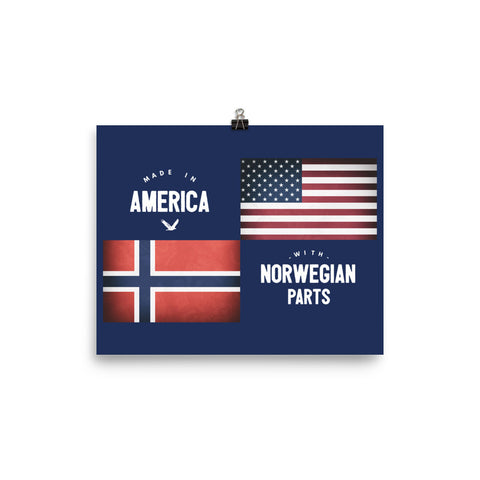 MADE IN AMERICA WITH NORWEGIAN PARTS (NORWAY) - Poster