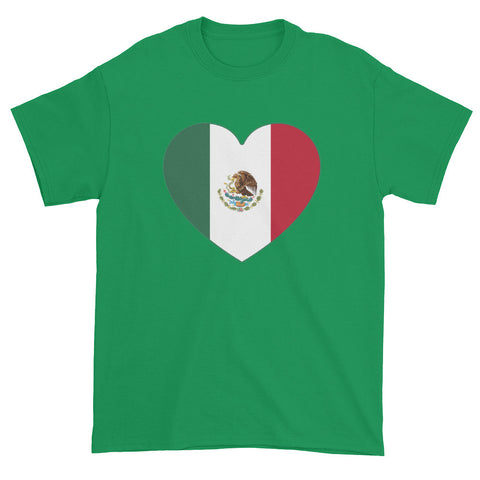 MEXICO FLAG HEART - Mens/Unisex short sleeve t-shirt