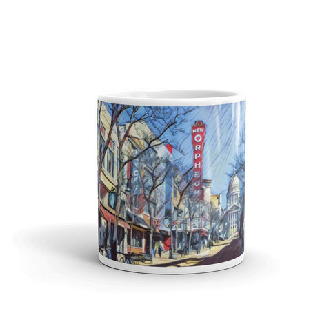 ORPHEUM THEATER & WI CAPITOL in MADISON, WISCONSIN (Red) - Mug